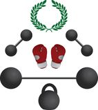 Weights and boxer gloves Royalty Free Stock Photography