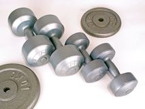 Weights for Exercise. Various types of Weights for Exercise purpose stock photography