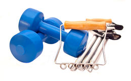 Weights, expander  and gloves Stock Photo