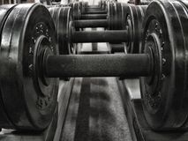 Weights in a fitness studio, hdr.  royalty free stock photography