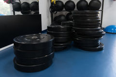 Weights On Floor In The Gym Royalty Free Stock Photography
