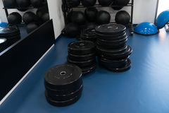 Weights On Floor In The Gym Royalty Free Stock Images