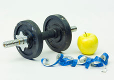 Weights & Fruit Royalty Free Stock Photography