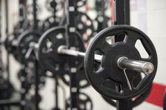 Weights in a gym. Exercise weights in a gym Royalty Free Stock Images