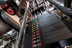 Weights in gym machine Royalty Free Stock Photos