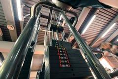 Weights in gym machine stock photo
