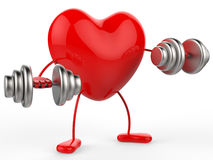 Weights Heart Shows Get Fit And Aerobic Stock Image
