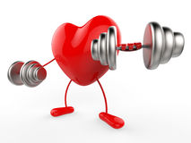 Weights Heart Shows Working Out And Active Stock Images