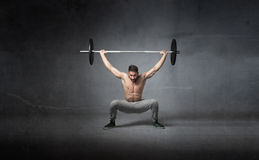 Weights lifting for athlete Stock Photos