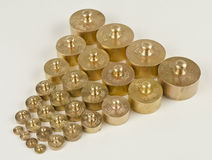 weights made from brass Stock Photo