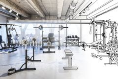 Weights Room draft vector illustration