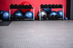 Weights room with exercise balls Stock Image