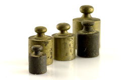 Weights. Steel weights for scales vintage Royalty Free Stock Photography
