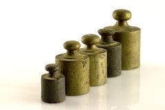 Weights. Steel weights for scales vintage Royalty Free Stock Images
