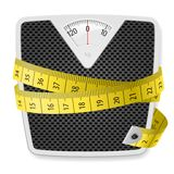 Weights and tape measure. Illustration on white background Stock Photos
