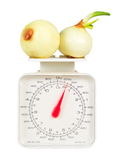 Weights with vegies Royalty Free Stock Photo