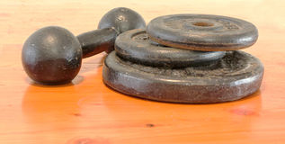 Weights on Wood Stock Images