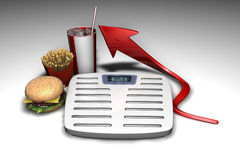 Weightscale et mauvaise nutrition Photo stock