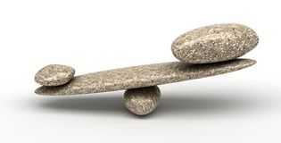 Weighty thing: Pebble stability scales. With large and small stones Royalty Free Stock Photography