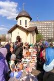 Weihe von Ostern-Kuchen und -eiern Lizenzfreie Stockfotos