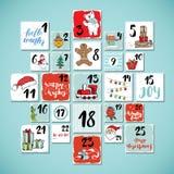 Weihnachten Advent Calendar Hand gezeichnete Elemente und Zahlen Winterurlaubkalender kardiert Bühnenbild, Vektorillustration Lizenzfreie Stockfotografie