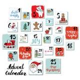 Weihnachten Advent Calendar Hand gezeichnete Elemente und Zahlen Winterurlaubkalender kardiert Bühnenbild, Vektorillustration Lizenzfreies Stockfoto