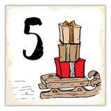 Weihnachten Advent Calendar Hand gezeichnete Elemente und Zahlen Winterurlaubkalender-Kartendesign, Vektorillustration Stockbild