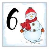 Weihnachten Advent Calendar Hand gezeichnete Elemente und Zahlen Winterurlaubkalender-Kartendesign, Vektorillustration Lizenzfreies Stockfoto