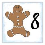 Weihnachten Advent Calendar Hand gezeichnete Elemente und Zahlen Winterurlaubkalender-Kartendesign, Vektorillustration Lizenzfreie Stockfotografie