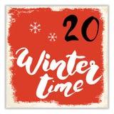 Weihnachten Advent Calendar Hand gezeichnete Elemente und Zahlen Winterurlaubkalender-Kartendesign, Vektorillustration Lizenzfreie Stockbilder