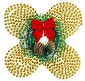 Weihnachten bördelt Girlande mit Wreath und rotem Bogen stockfotografie