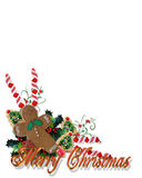 Weihnachten behandelt Ecke mit Text 3D Lizenzfreies Stockfoto