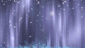 Weihnachten belebte Hintergrund mit dem Baum-, Stern- und Schneefallen lizenzfreie abbildung