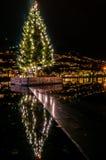 Weihnachten in Bergen, Norwegen Stockbild