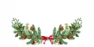 Weihnachten-boquet mit Mistelzweig und Fichte watercolor stock abbildung