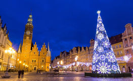 Weihnachten in Breslau nachts, Polen Lizenzfreies Stockfoto