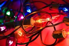 Weihnachten: Bunt, Feiertags-Weihnachtslichter Stockfotografie