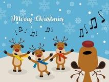 Weihnachten Carol mit Ren lizenzfreie abbildung