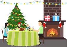 Weihnachten, das Farbillustration feiert Stockbild
