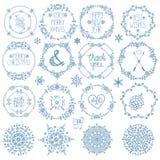 Weihnachten, Dekor des neuen Jahres Winterkreisrahmen eingestellt Lizenzfreies Stockfoto