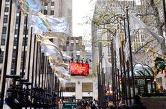 Weihnachten in der Rockefeller-Mitte lizenzfreies stockbild