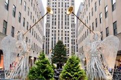 Weihnachten in der Rockefeller-Mitte lizenzfreie stockfotografie