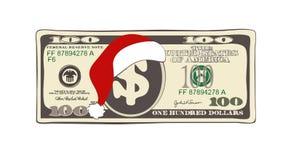 Weihnachten 100 Dollar in der flachen Karikaturart Stockbilder