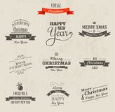 Weihnachten eingestellt - Aufkleber, Embleme und Elemente Lizenzfreies Stockfoto
