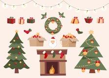 Weihnachten eingestellt mit dekorativen Wintergegenständen, zwei verschiedene Weihnachtsbäume, Spielwaren in den Kästen, Geschenk vektor abbildung