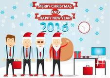 Weihnachten eingestellt - Weihnachtsmann Vektor Weihnachtsmann Büro Sankt Blume im Schnee Lizenzfreie Stockbilder