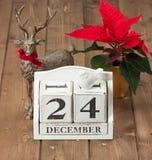 Weihnachten Eve Date On Calendar 24. Dezember Stockfotos