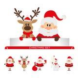 Weihnachten gesetzter Weihnachtsmann, Ren, Schneemann Stockbild