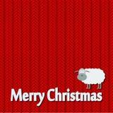 Weihnachten gestrickte Musterkarte mit lustigen Schafen Stockbild