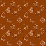 Weihnachten Ginger Bread Cookies Seamless Pattern, Vektor-Illustration Stockbilder